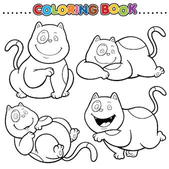 Libro da colorare di cartoni animati - gatto