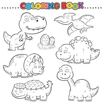Libro da colorare del fumetto - personaggio dei dinosauri