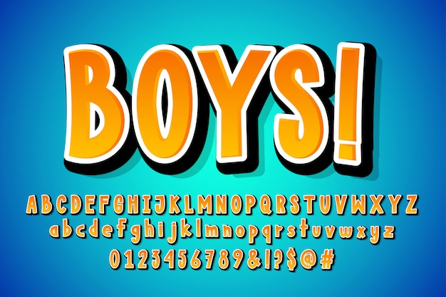 Disegno di alfabeto comico del fumetto