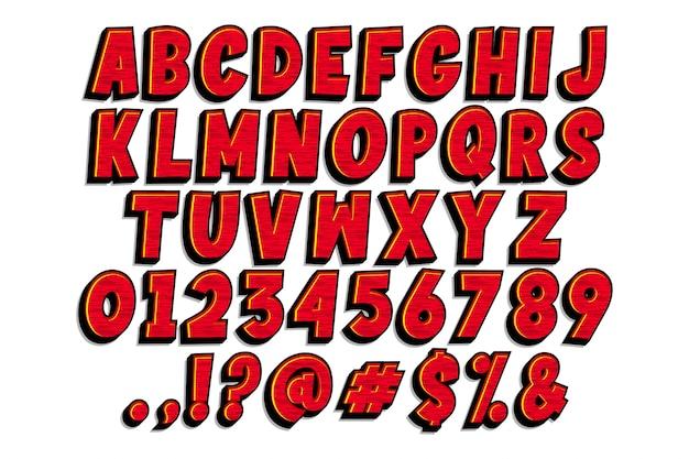 Disegno di alfabeto comico del fumetto Vettore Premium