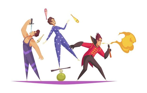 Composizione di cartoni animati con artisti circensi che si esibiscono