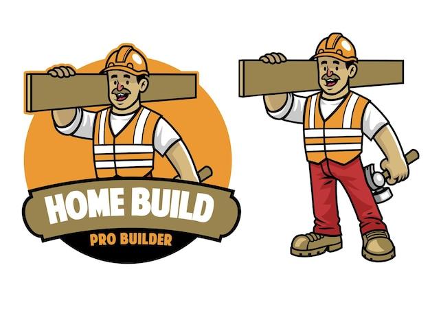 Mascotte dell'operaio edile dei cartoni animati