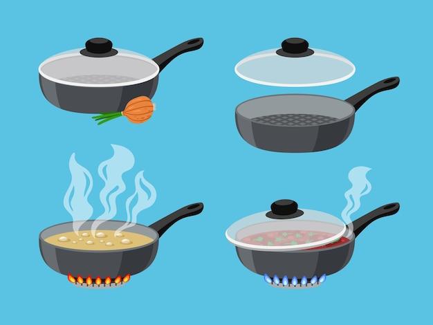 Padelle da cucina dei cartoni animati. oggetti per la cucina sul bruciatore a gas fiammeggiante, cibo bollente in pentole, illustrazione vettoriale di pentole sul fornello con fuoco isolato su priorità bassa blu