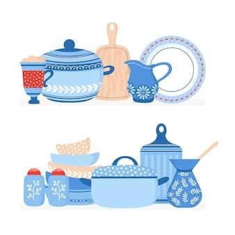 Elementi di pentole del fumetto. stoviglie da cucina, utensili da cucina insieme isolato vettore