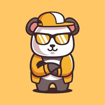 Cartoon cool panda indossa occhiali da sole