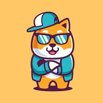 Cartone animato cool shiba inu indossa occhiali da sole