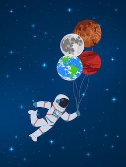 Cosmonauta del fumetto con l'illustrazione dei pianeti