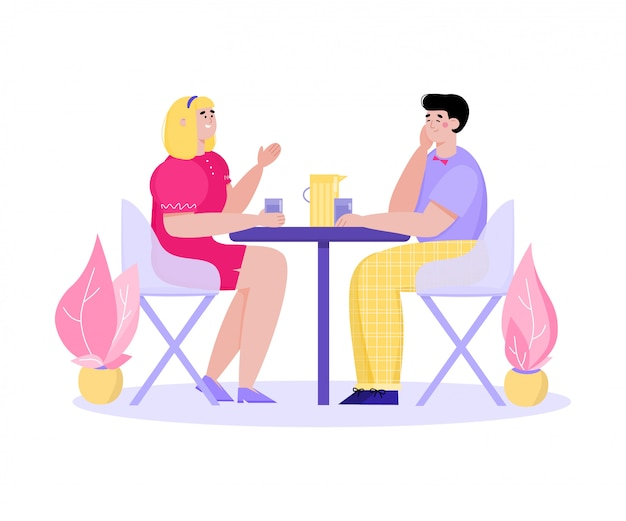 Coppie del fumetto in caffè che si siede al tavolo con bevande e parlare