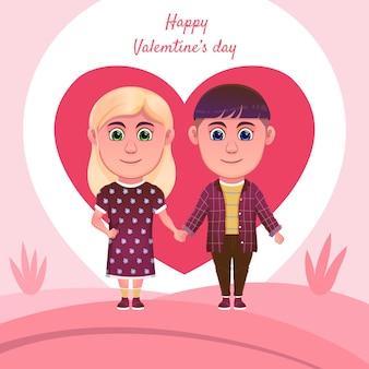 Coppie del fumetto che celebrano il giorno di biglietti di s. valentino