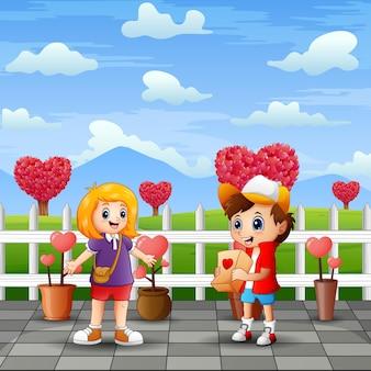 Cartone animato un paio di bambini nel paesaggio del parco