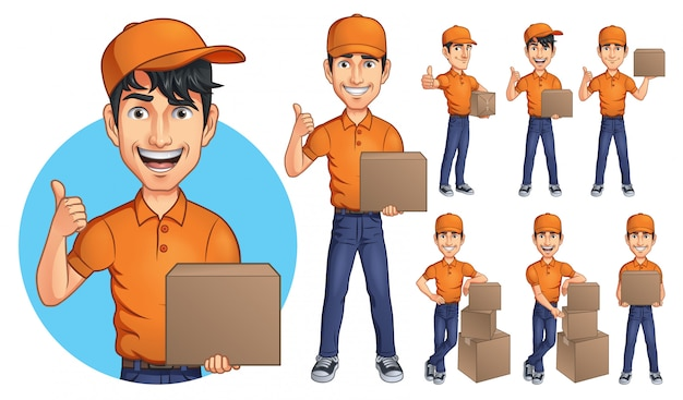 Cartoon courier young man mascot