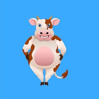 Cartone animato un modello di mascotte di mucca