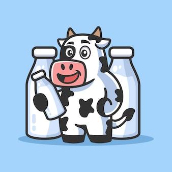 Mucca del fumetto con l'illustrazione della bottiglia di latte