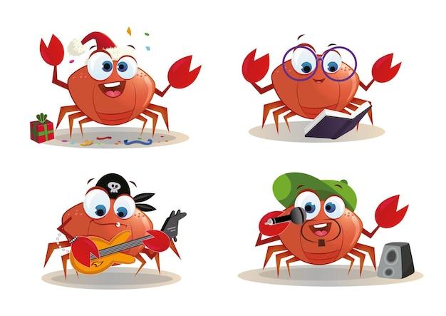 Illustrazione di set di pagine di caratteri di granchio dei cartoni animati