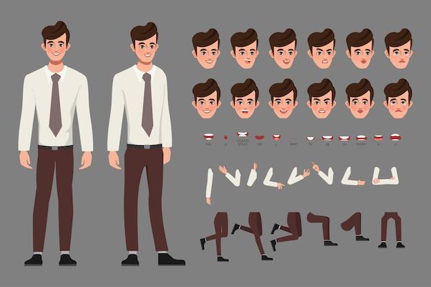 Uomo di affari del personaggio della creazione del fumetto in camicia astuta per la bocca di animazione e la progettazione del movimento.