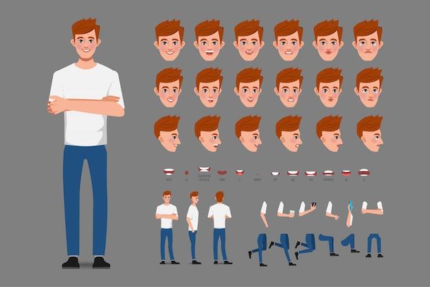 Uomo di affari del personaggio della creazione del fumetto in maglietta bianca per la bocca di animazione e la progettazione del movimento.