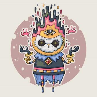Creatura del fumetto nella maschera. illustrazione del fumetto in stile alla moda comico.