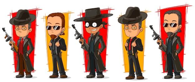 Mafiosi criminale del fumetto con set di caratteri di pistola