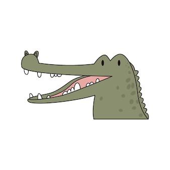 Testa di coccodrillo del fumetto illustrazione vettoriale colorata isolata di un alligatore