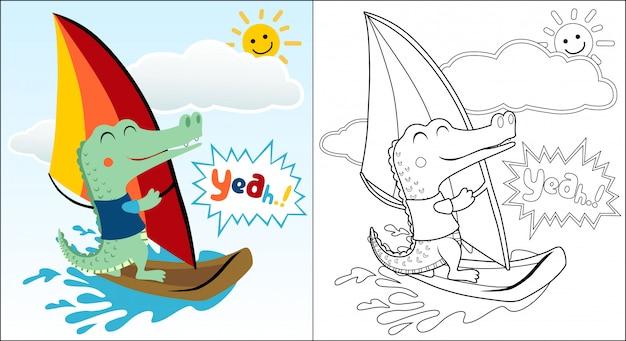 Cartone animato di coccodrillo giocando a windsurf in vacanza estiva