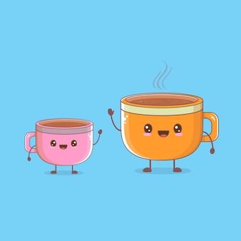 Cartoon tazza di tè set di caratteri
