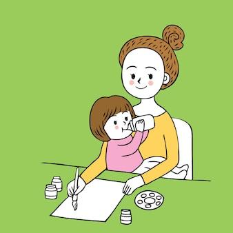 Vettore della mamma e della figlia di giorno occupato del taglio del fumetto.