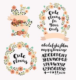 Insieme di elementi di taglio del fumetto di lettere maiuscole alfabeto logoro e disegnato a mano