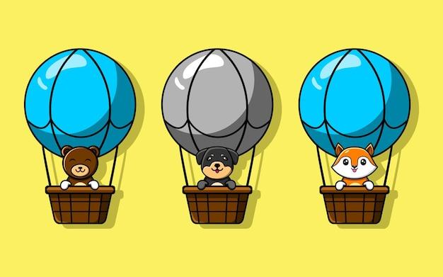 Animale carino cartone animato che gioca in mongolfiera