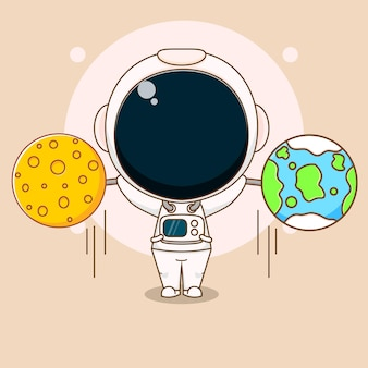 Cartone animato di un simpatico astronauta che solleva pesi