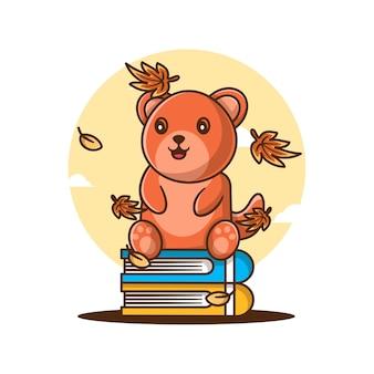 Simpatico orsetto autunnale cartone animato con libri
