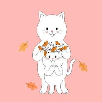 Vettore sveglio della corona dei fiori e dei gatti di autunno del fumetto.