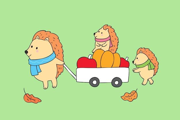 Cartone animato carino autunno famiglia ricci e frutti vettoriale.