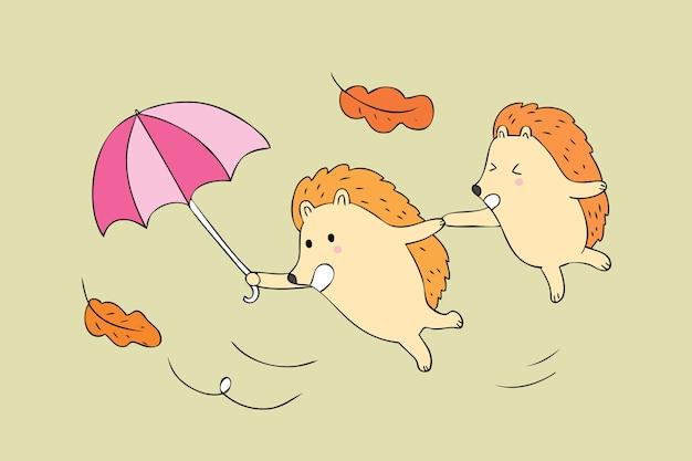 Cartone animato carino autunno ricci e pioggia vettoriale.