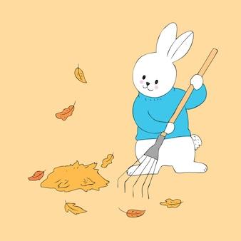 Vettore sveglio di spazzata del foglio del coniglio di autunno del fumetto.