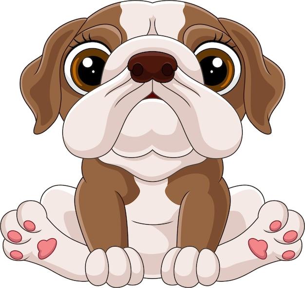 Cartone animato carino baby bulldog seduto
