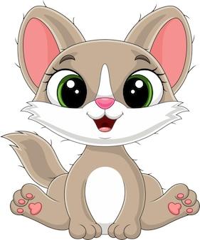 Cartone animato simpatico gattino seduto