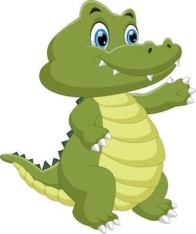 Cartone animato carino coccodrillo bambino agitando
