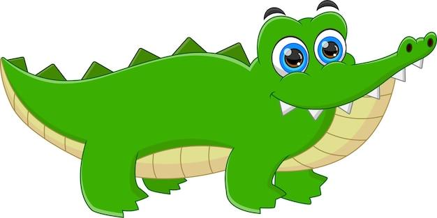 Cartone animato coccodrillo bambino carino Vettore Premium