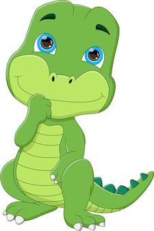 Cartone animato simpatico cucciolo di dinosauro su sfondo bianco