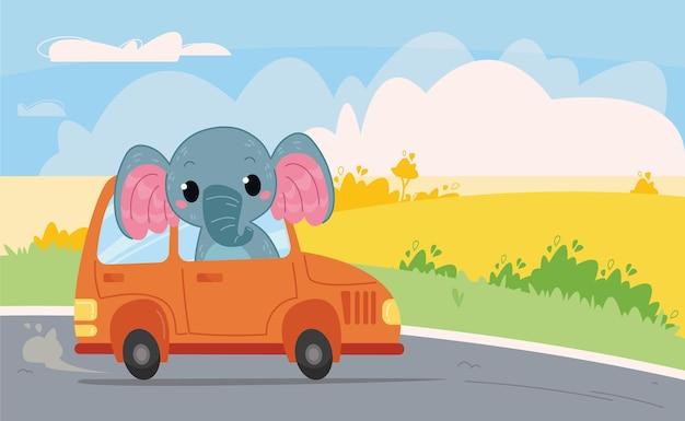 Cartone animato carino elefantino cavalca in un'auto arancione sulla strada sullo sfondo della natura e del cielo. illustrazione di colore di vettore nello stile dei bambini. stampa con trasporto e animali.
