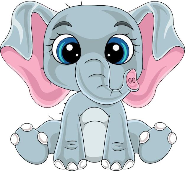 Cartone animato carino elefantino seduto