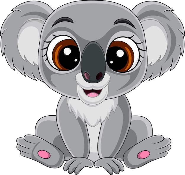 Cartone animato carino cucciolo di koala seduto