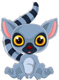 Cartone animato carino lemure seduto