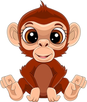 Cartone animato carino scimmietta seduta