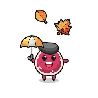 Cartone animato del simpatico manzo che tiene un ombrello in autunno, design in stile carino per maglietta, adesivo, elemento logo