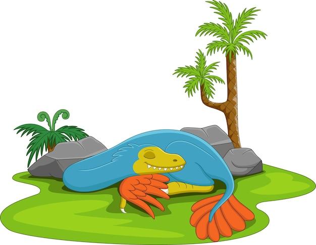 Cartone animato carino dinosauro blu che dorme nell'erba