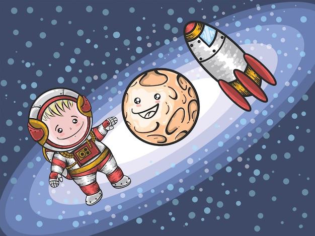 Cartoon carino ragazzo astronauta in mano disegnata