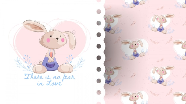 Simpatico coniglietto di cartone animato con motivo
