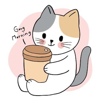 Cartone animato carino gatto bere tazza di caffè vettore