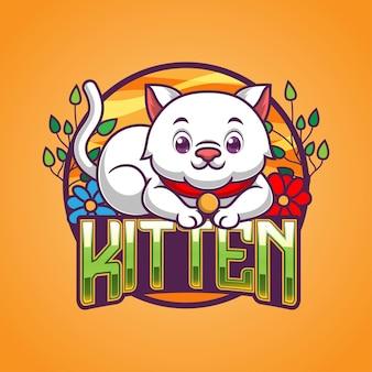 Illustrazione della mascotte del gatto sveglio del fumetto
